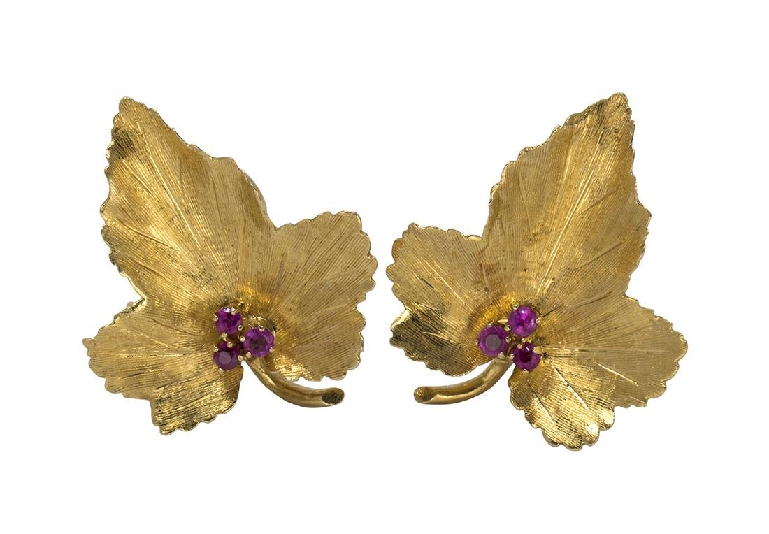 Pair of Tiffany & Co. ruby and 18k yellow gold leaf