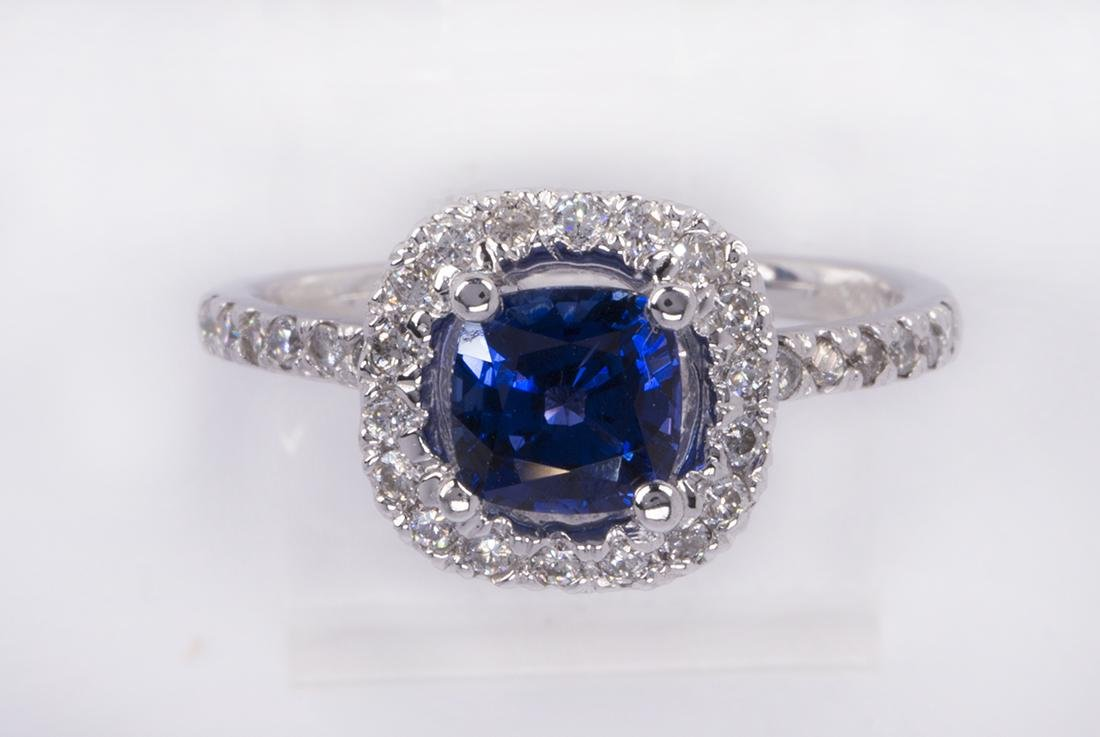 Sapphire, diamond and 14k white gold ring