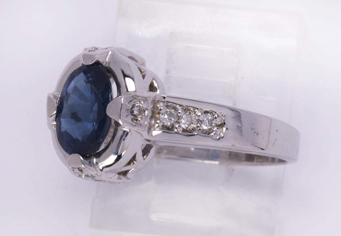 Sapphire, diamond and 14k white gold ring - 2