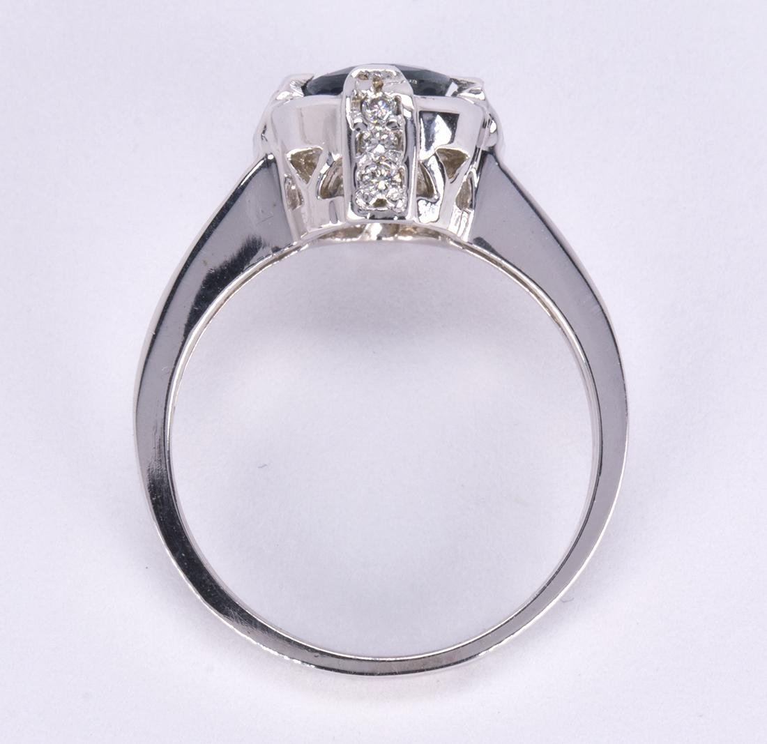 Sapphire, diamond and 14k white gold ring - 3