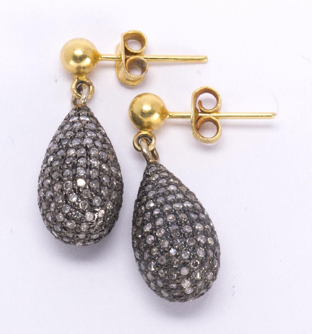 Pair of diamond, blackened silver and 14k yellow gold