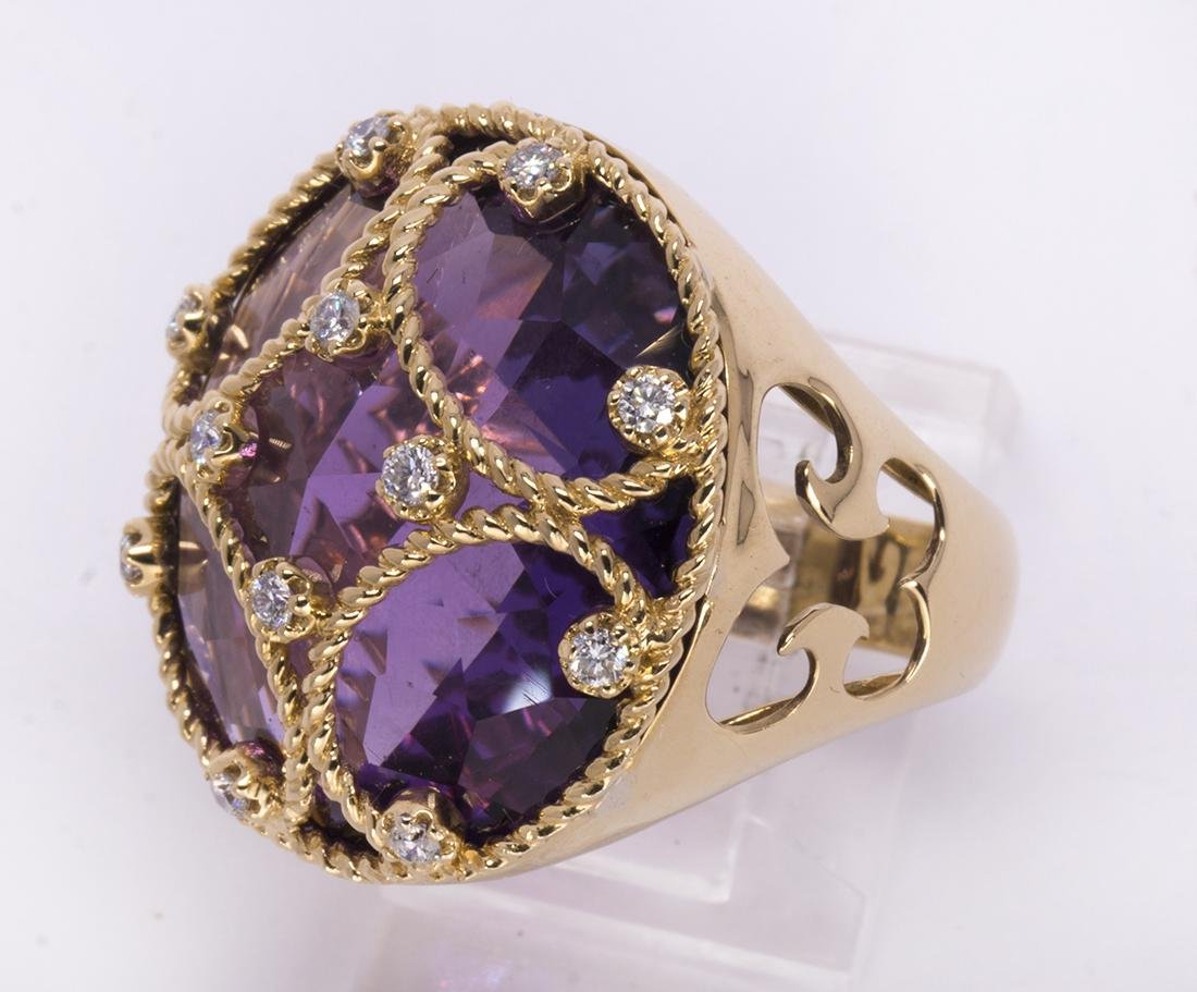 Amethyst, diamond and 18k yellow gold ring