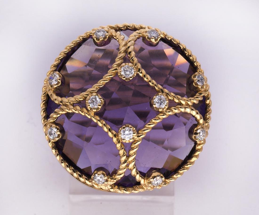 Amethyst, diamond and 18k yellow gold ring - 2