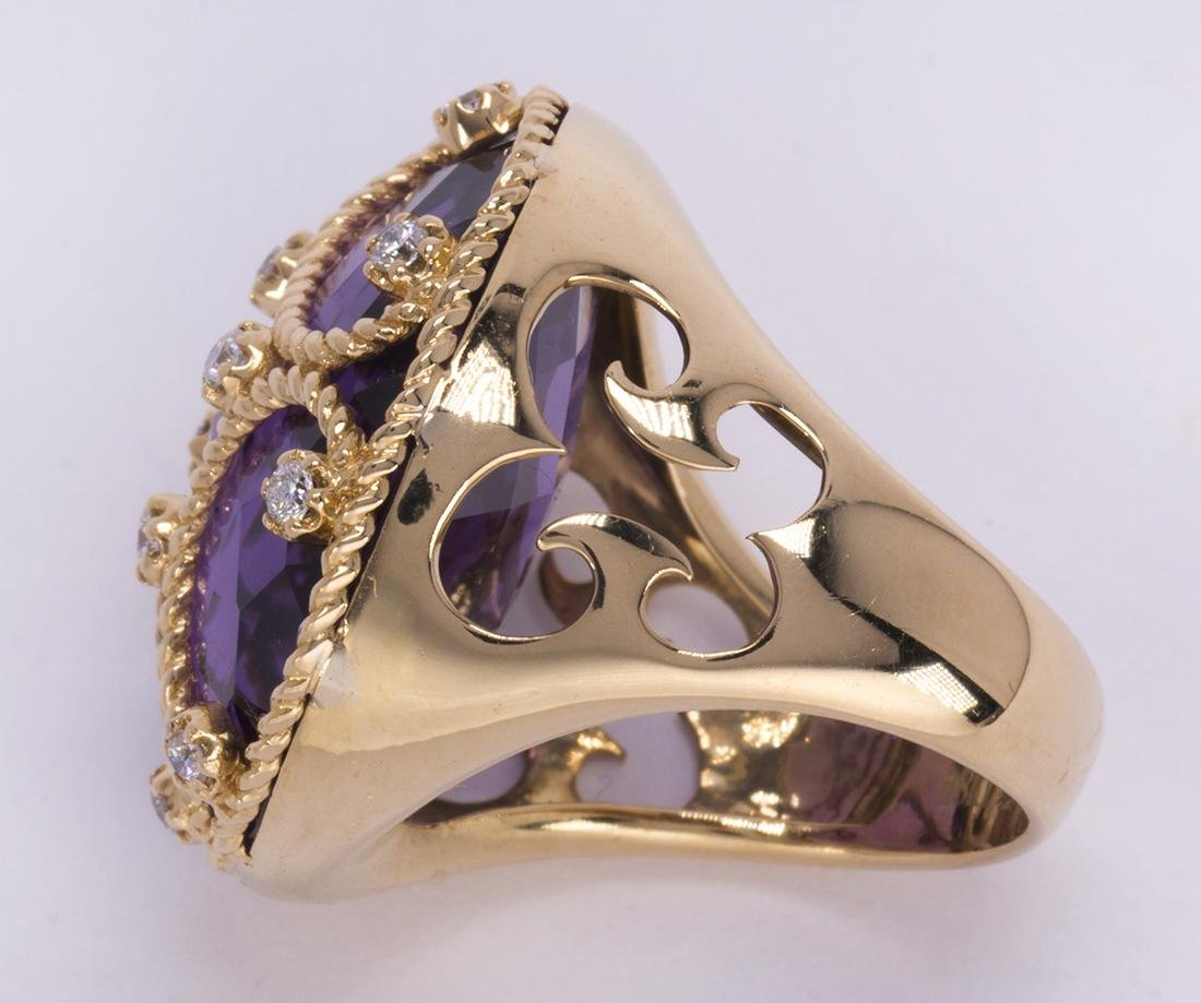 Amethyst, diamond and 18k yellow gold ring - 3