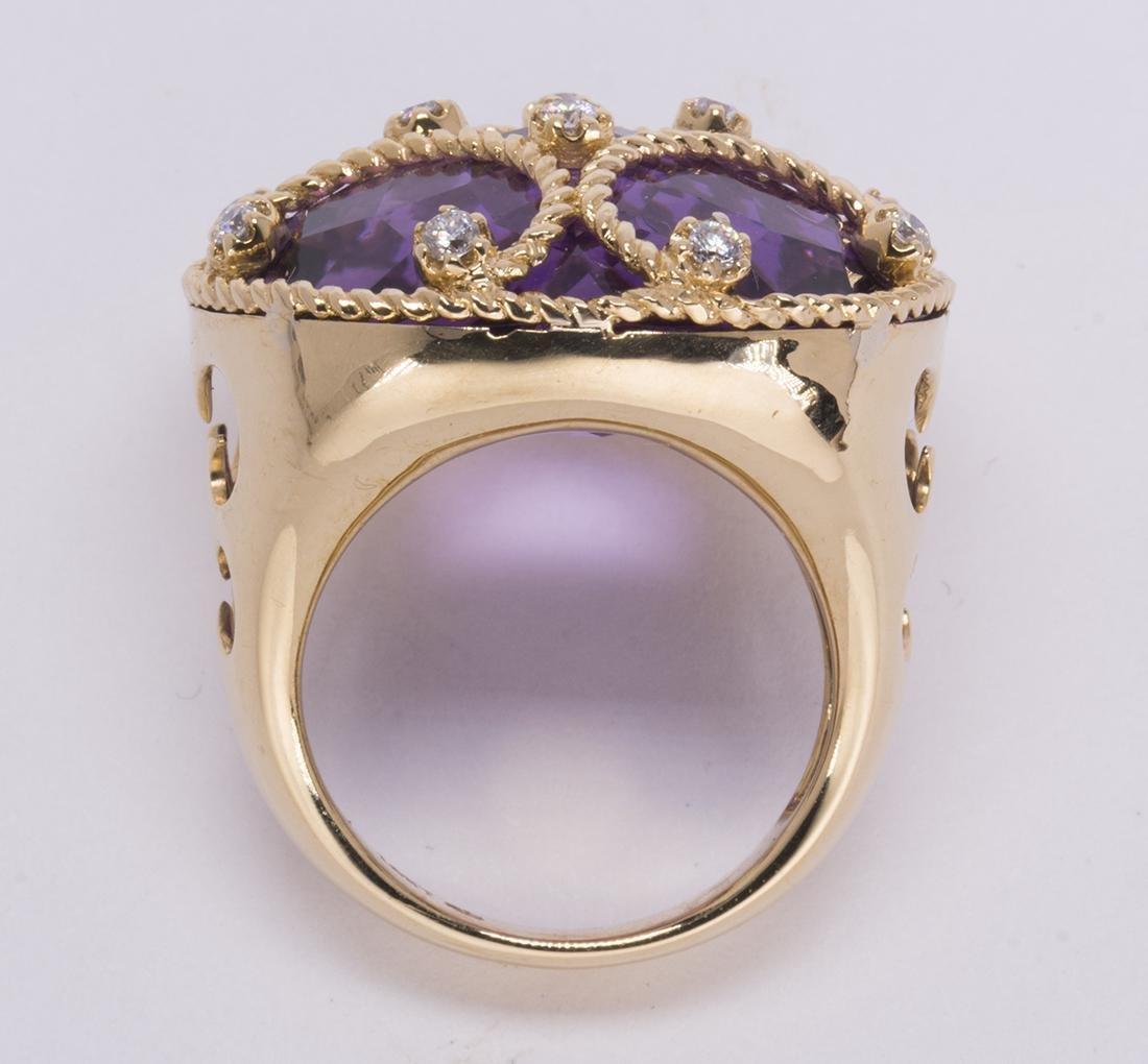 Amethyst, diamond and 18k yellow gold ring - 4
