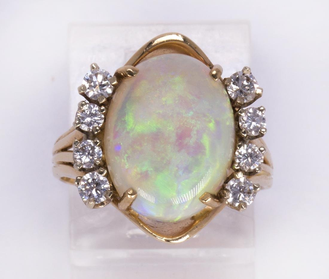 Opal, diamond and 14k yellow gold ring
