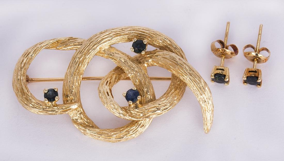 Sapphire and 14k yellow gold jewelry suite