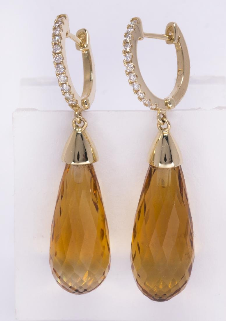 Pair of citrine, diamond and 14k yellow gold earrings