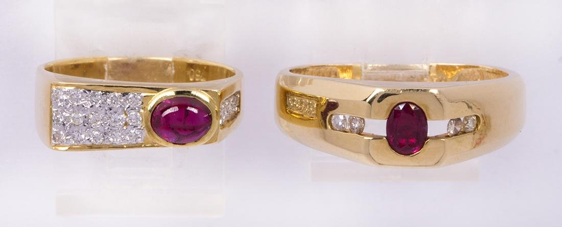 (Lot of 2) Ruby, diamond and yellow gold rings