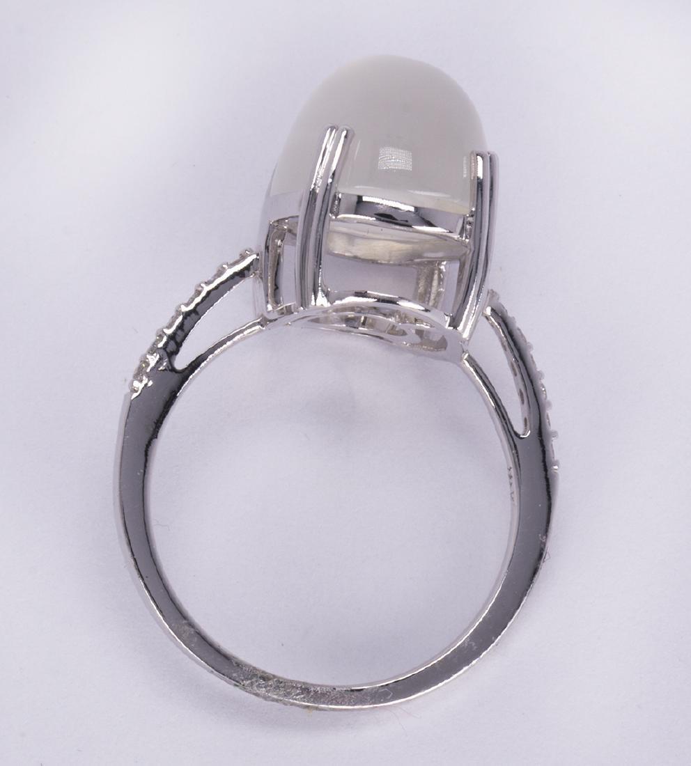 Moonstone, diamond and 14k white gold ring - 3