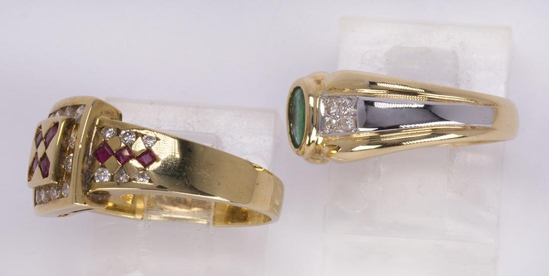 (Lot of 2) Ruby, emerald and 18k yellow gold rings - 2
