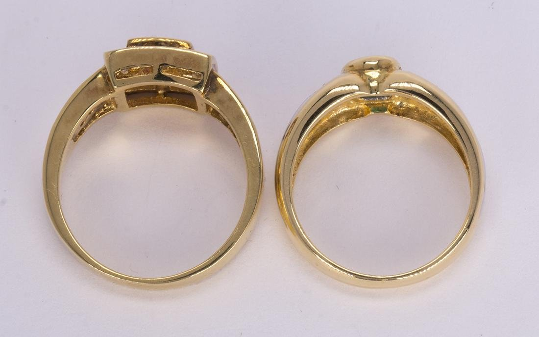(Lot of 2) Ruby, emerald and 18k yellow gold rings - 3