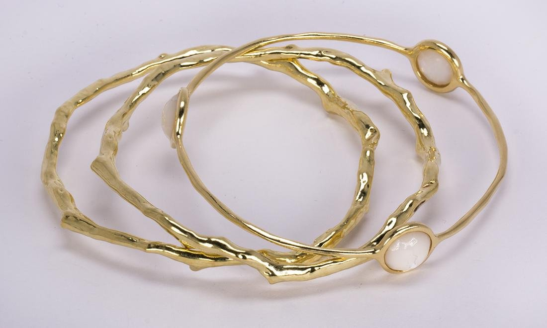(Lot of 3) Ippolita mother-of-pearl and 18k yellow gold