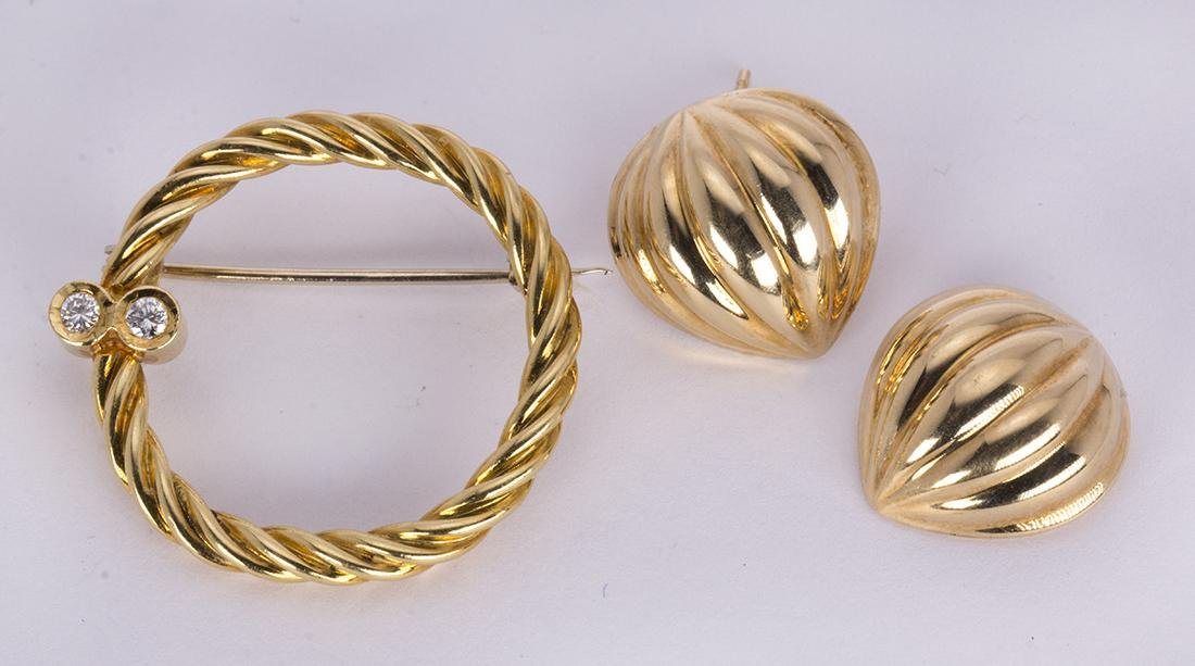 (Lot of 2) Diamond, 18k and 14k yellow gold jewelry