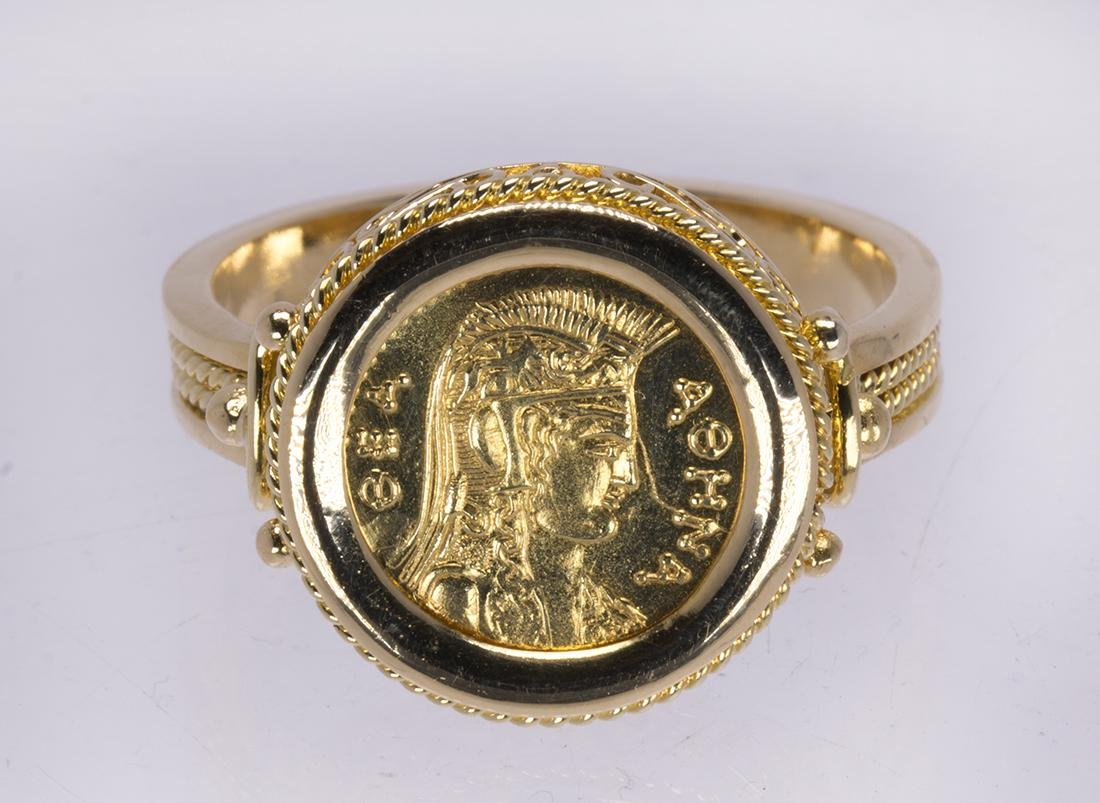 Coin form 18k yellow gold ring
