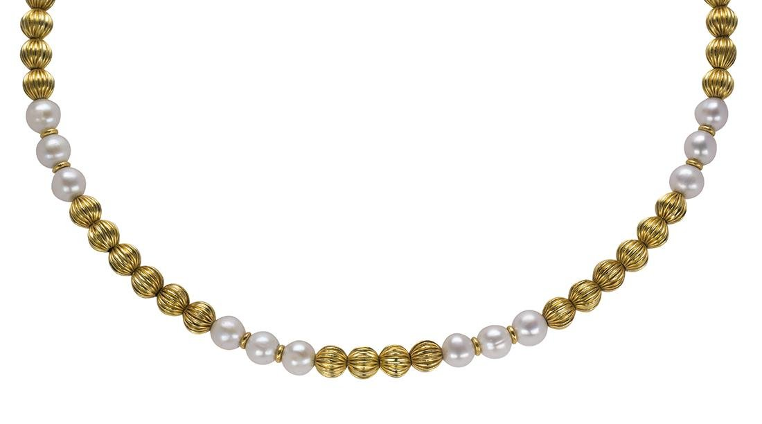Lalaounis cultured pearl and 18k yellow gold bead