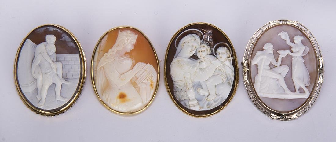 (Lot of 4) Shell cameo and 14k gold brooches