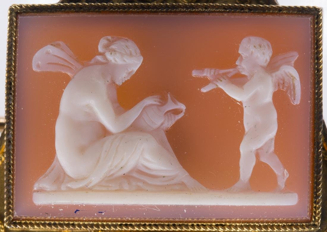 Victorian Etruscan Revival hardstone cameo, 14k yellow - 2