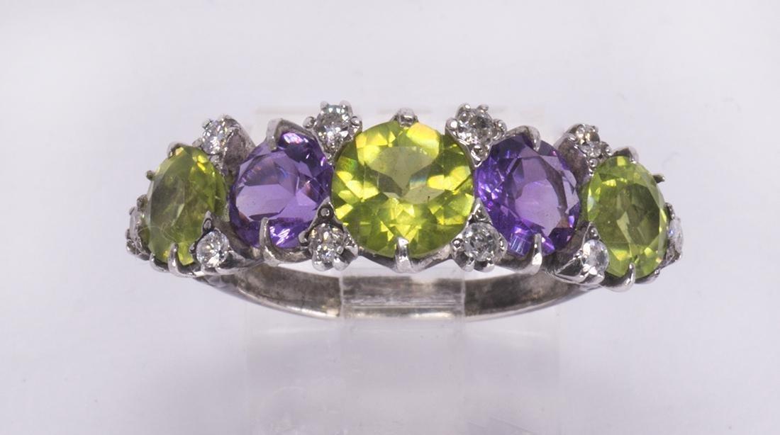Peridot, amethyst, diamond and silver ring