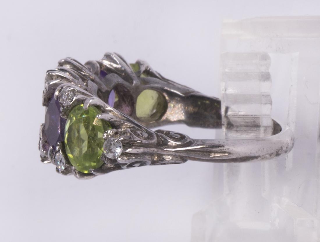 Peridot, amethyst, diamond and silver ring - 2
