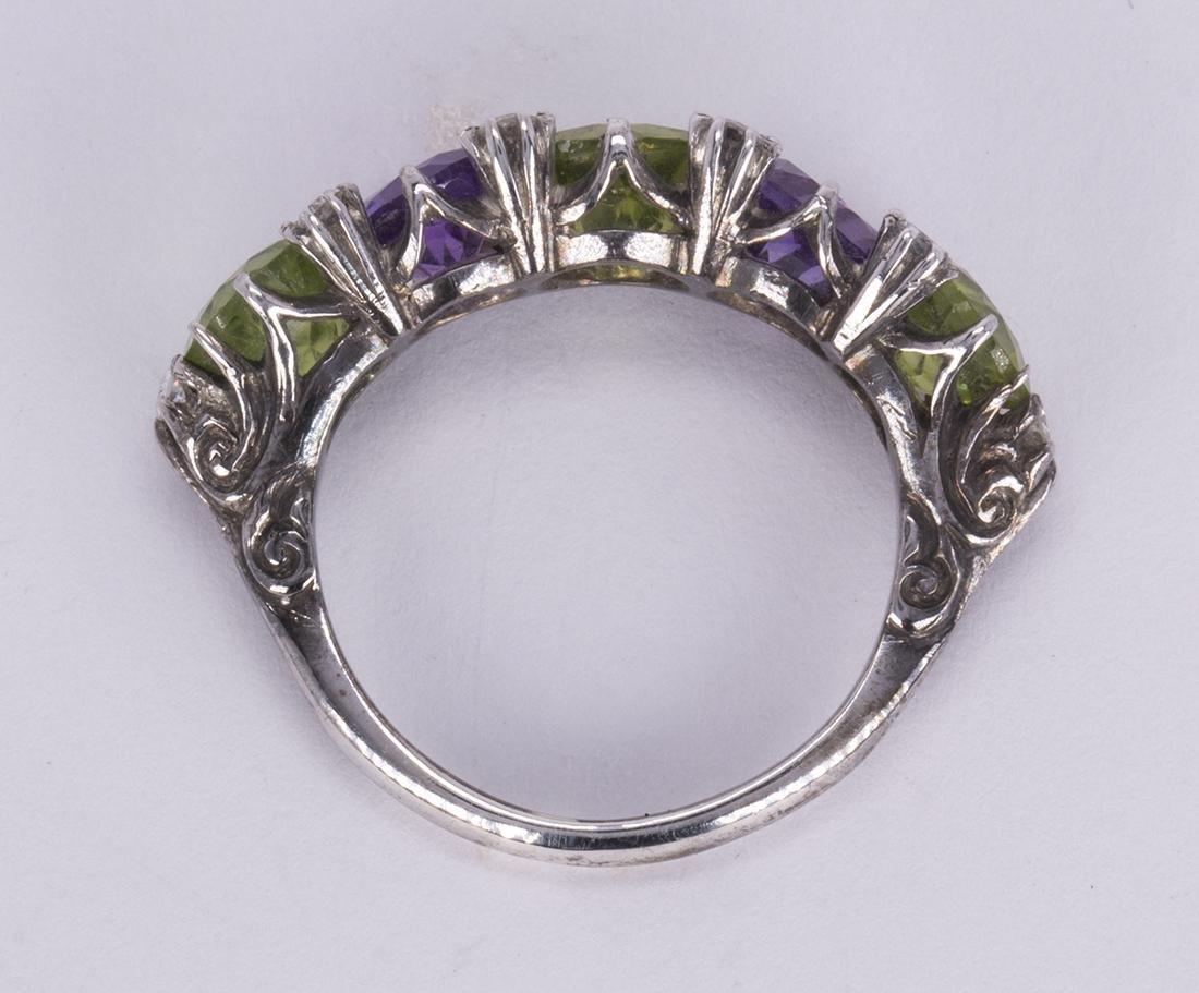 Peridot, amethyst, diamond and silver ring - 3