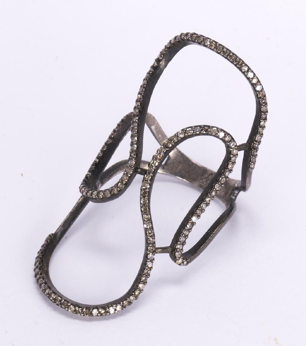 Diamond, blackened and silver gilt ring