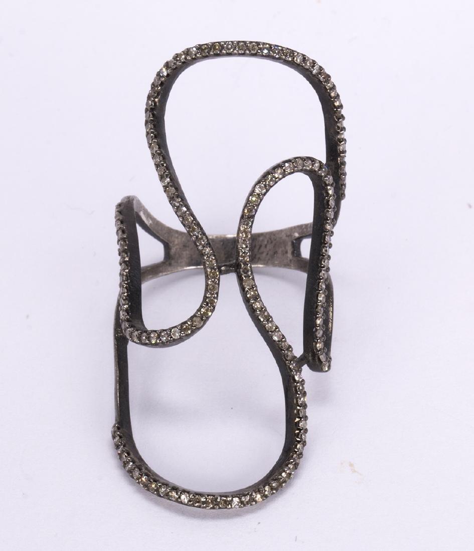 Diamond, blackened and silver gilt ring - 2