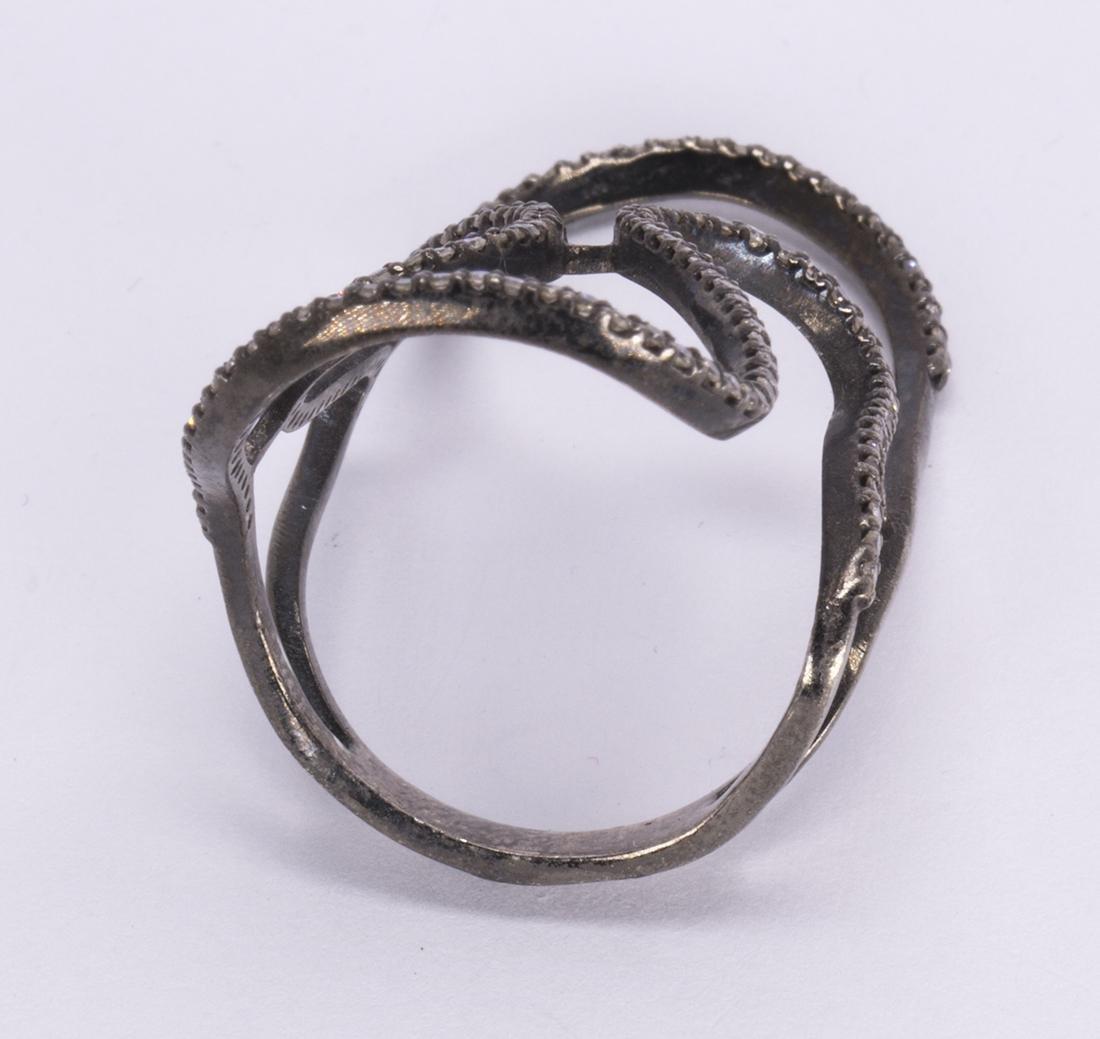 Diamond, blackened and silver gilt ring - 3