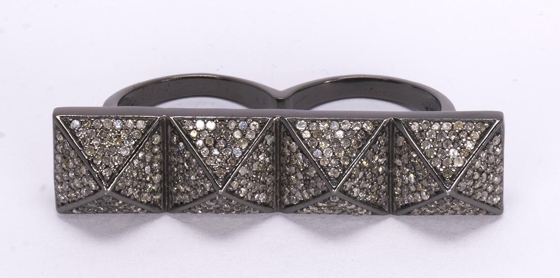 Diamond, blackened silver double ring