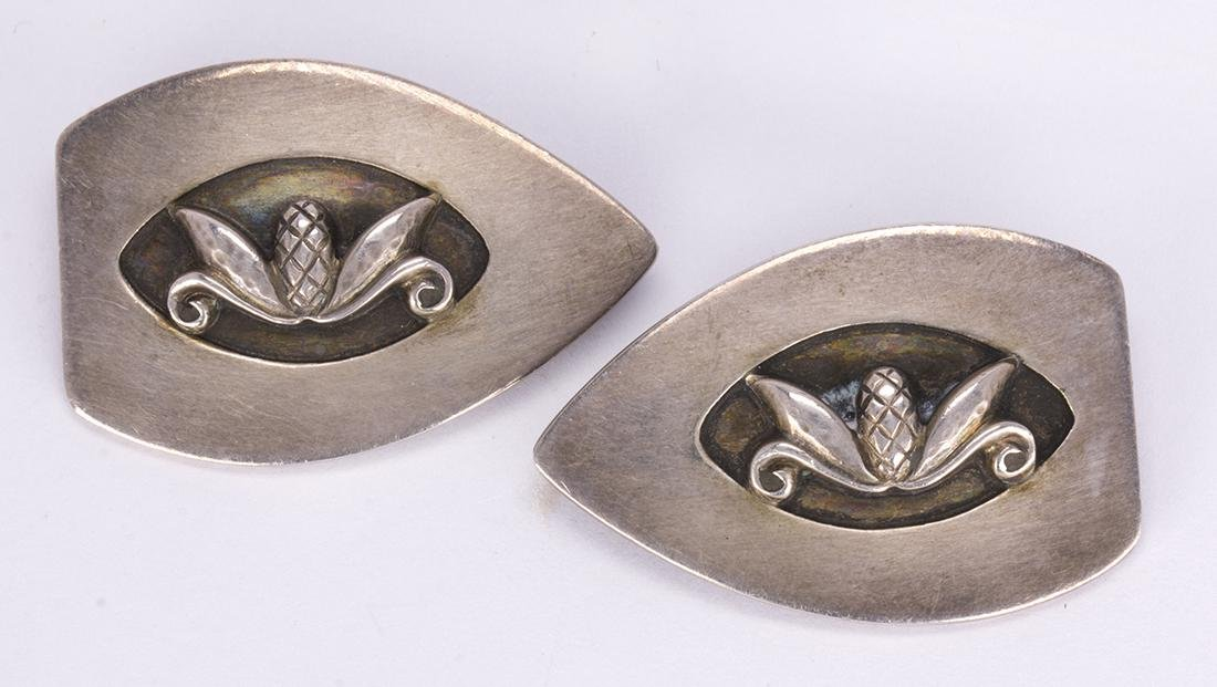 Pair of Georg Jensen sterling silver brooches