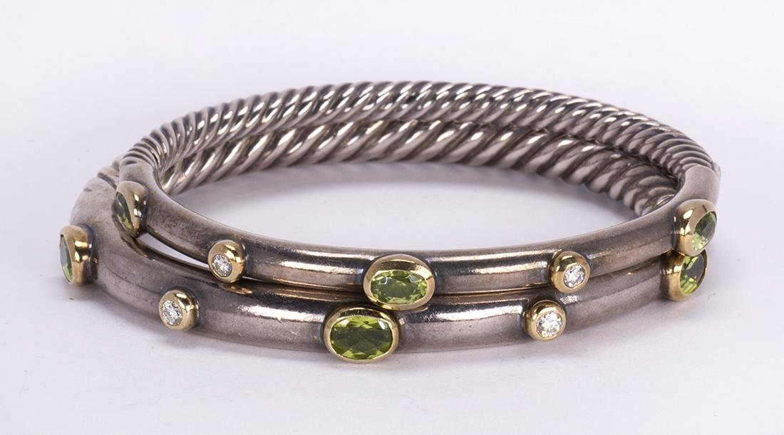 (Lot of 2) David Yurman peridot, diamond, sterling