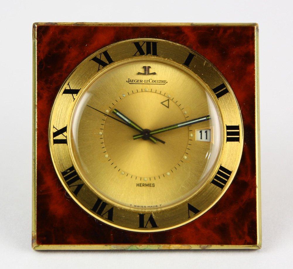 Hermes Jaeger-LeCoultre gold-filled travel alarm clock