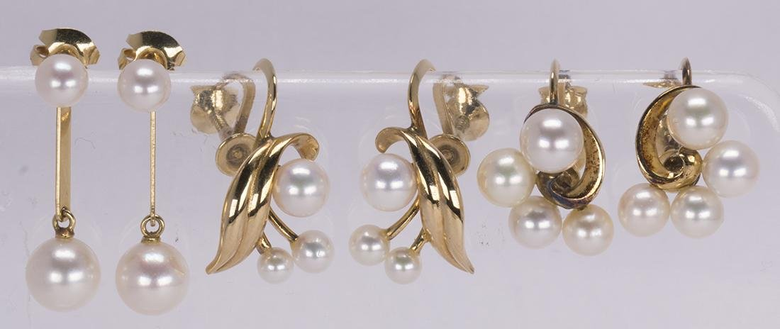 (Lot of 3) Pairs of Mikimoto cultured pearl, 14k yellow