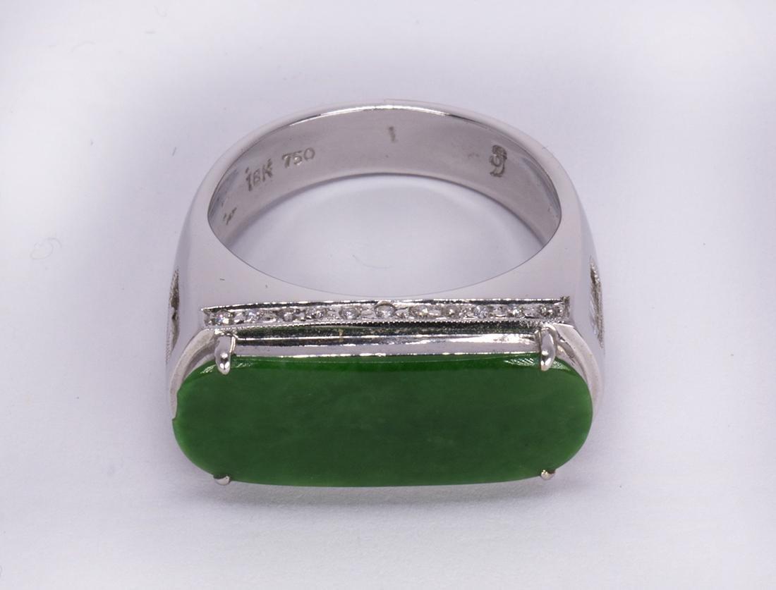 Jadeite, diamond and 18k white gold ring