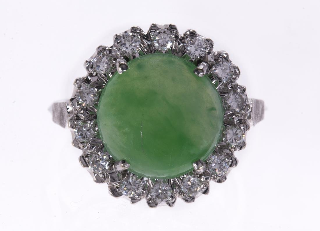 Jadeite, diamond and 14k white gold ring