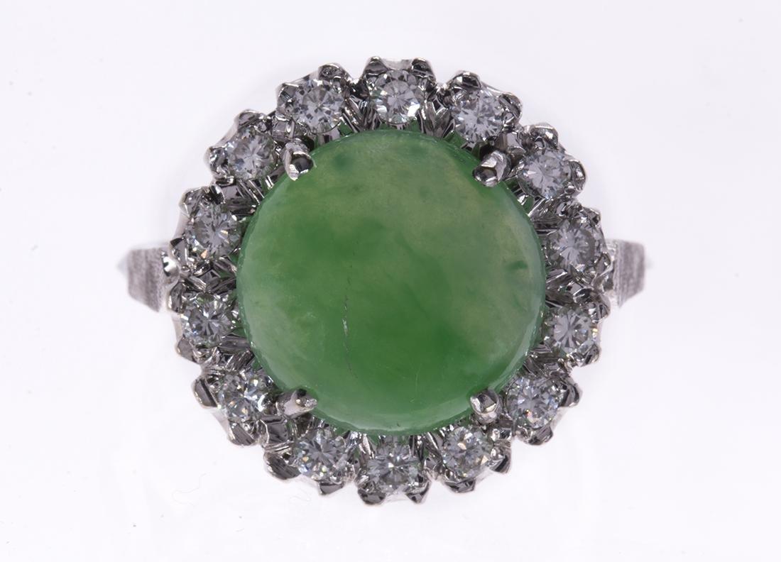 Jadeite, diamond and 14k white gold ring