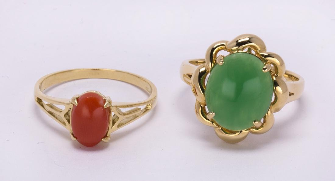 (Lot of 2) Jadeite, coral and 18k yellow gold rings