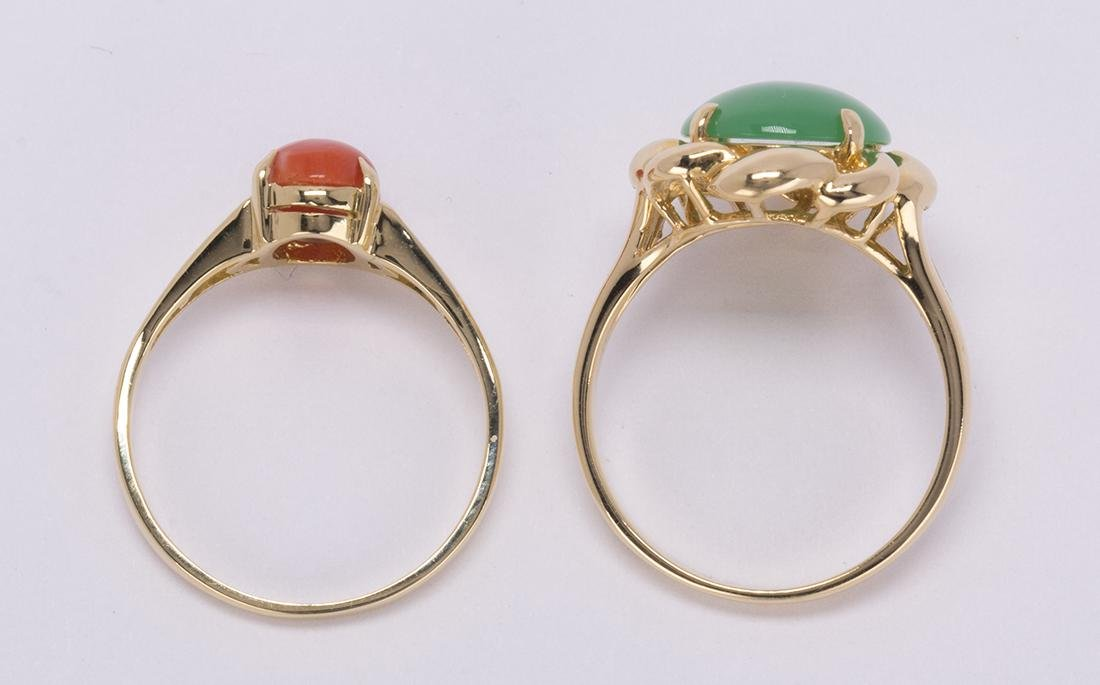(Lot of 2) Jadeite, coral and 18k yellow gold rings - 3