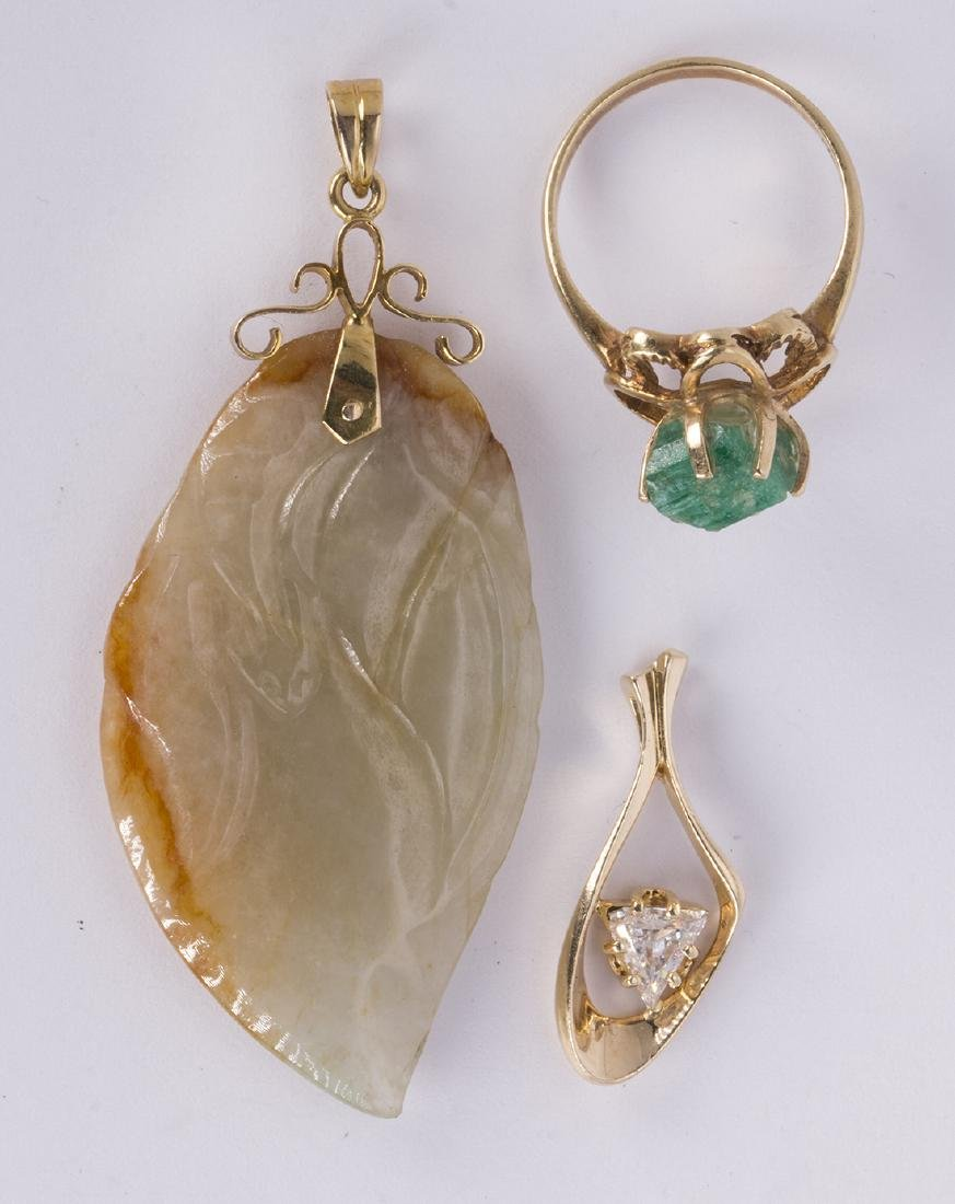 (Lot of 3) Diamond, emerald crystal, jade and yellow