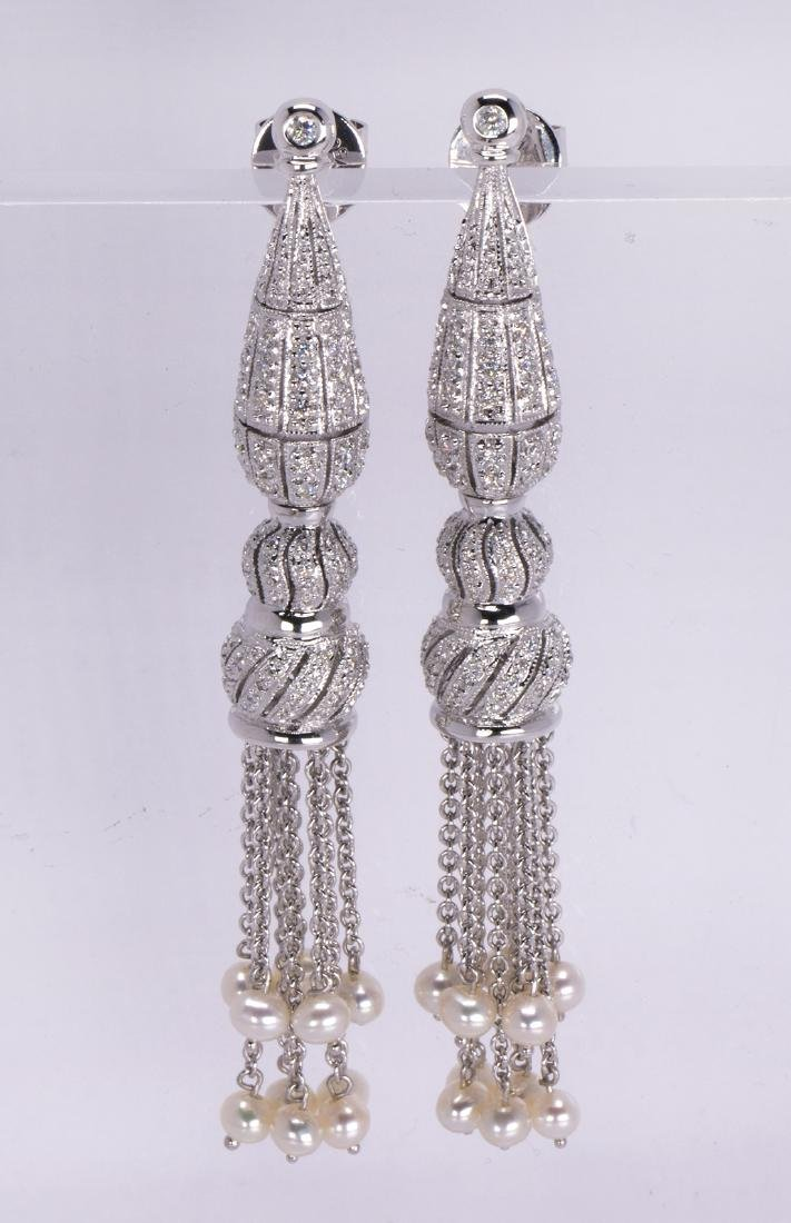 Pair of diamond, cultured pearl and 18k white gold