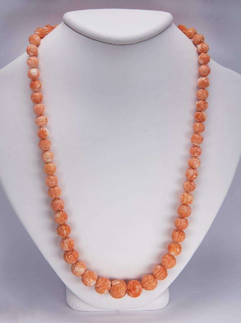 Carved coral bead and metal necklace - 2