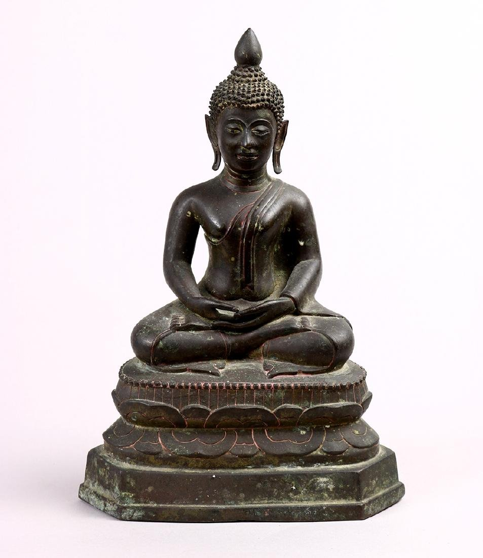 Thai Seated Bronze Buddha