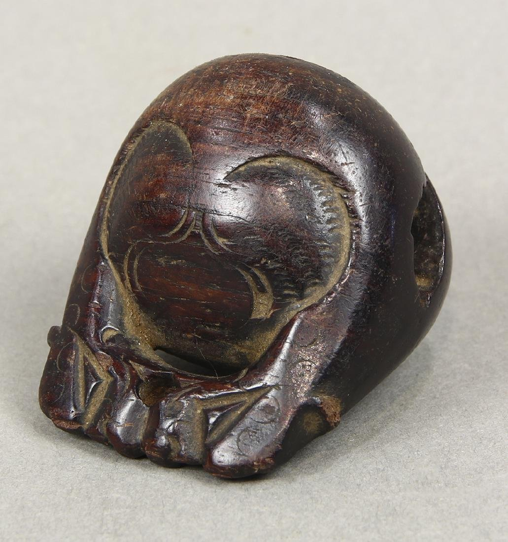 Japanese Wood Netsuke, Monkey, Mokugyo, 19c