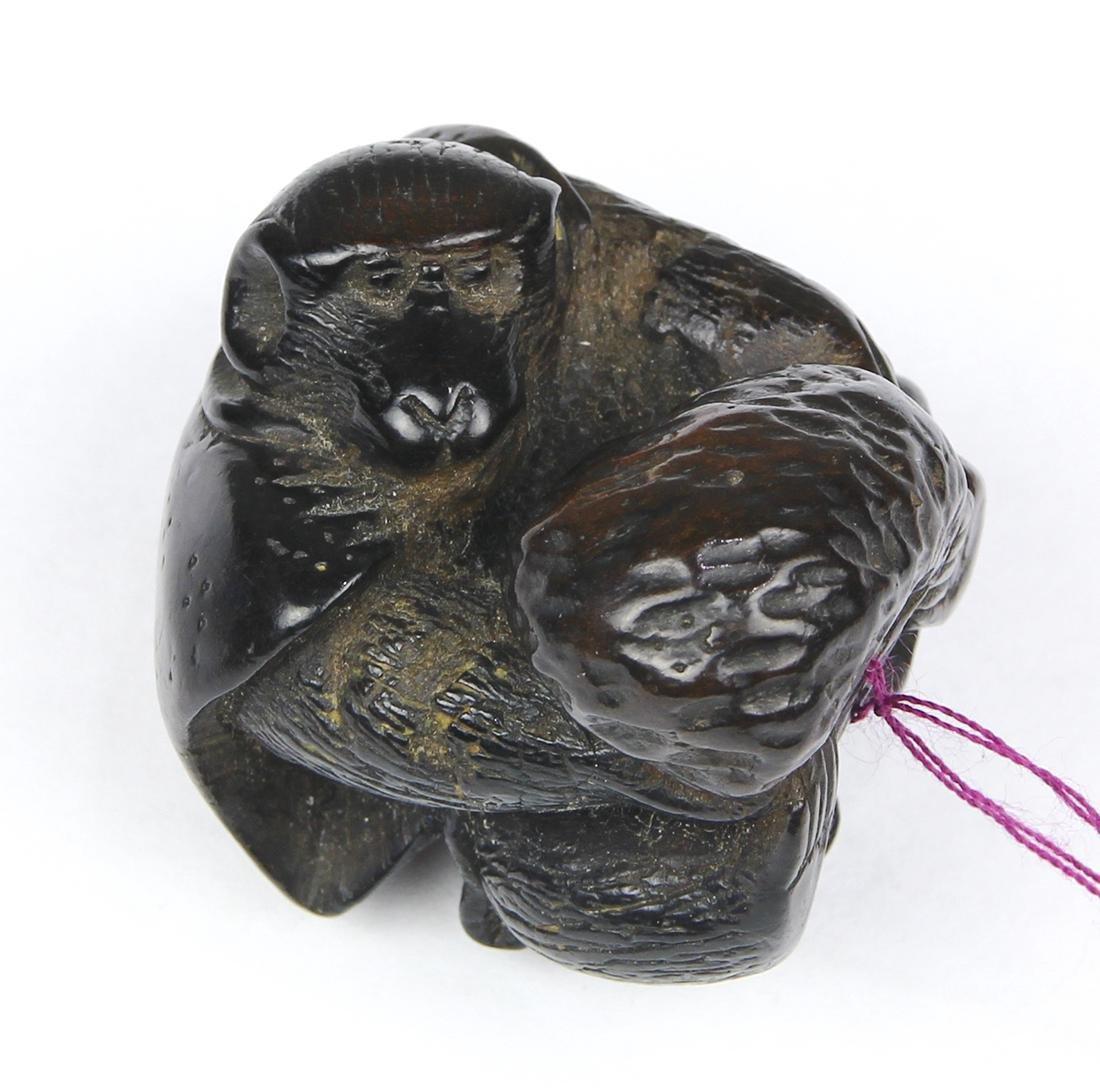 Japanese Wood Netsuke, Monkey, Mokugyo, 19c - 2