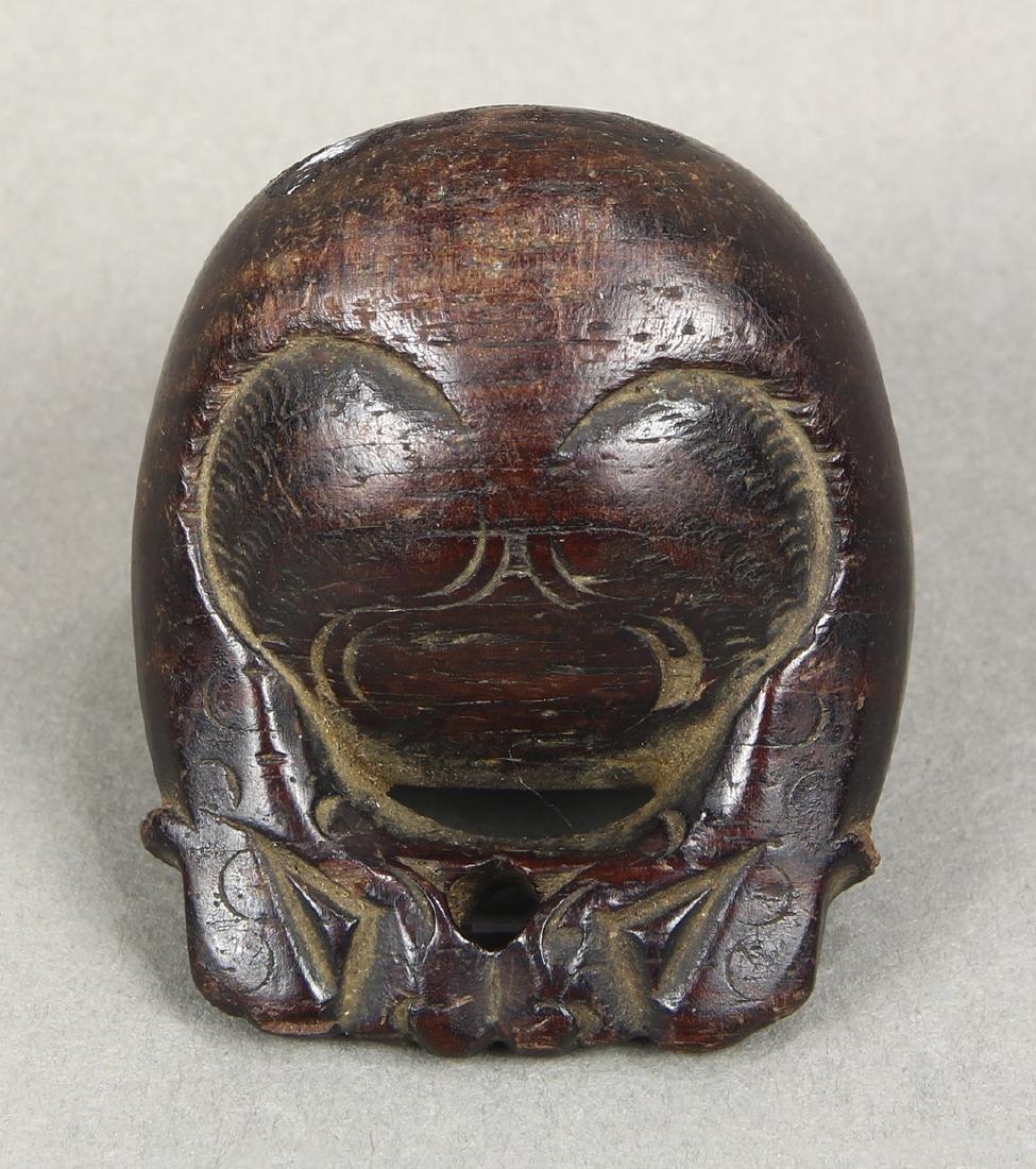 Japanese Wood Netsuke, Monkey, Mokugyo, 19c - 3