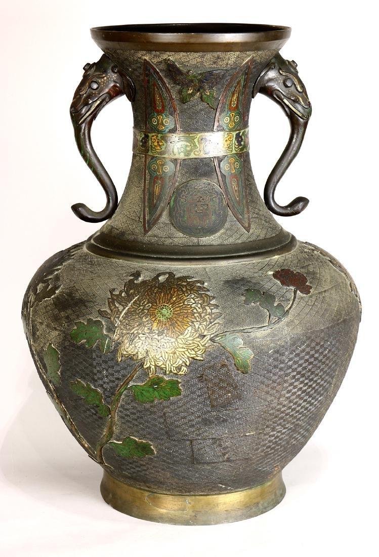Japanese Large Champleve Cloissonne Vase, Meiji - 3