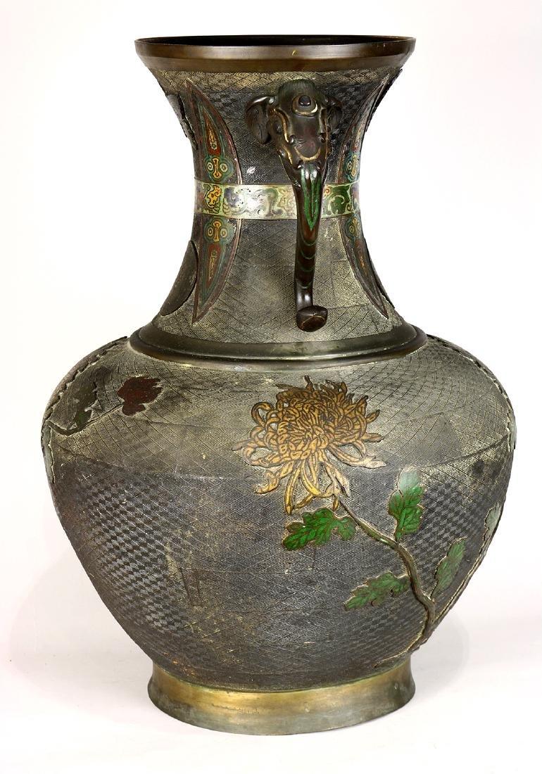 Japanese Large Champleve Cloissonne Vase, Meiji - 4