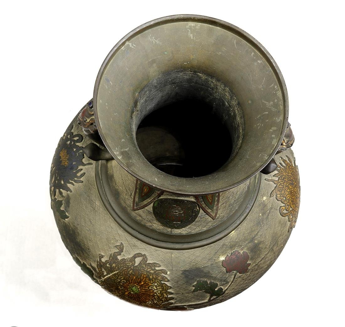Japanese Large Champleve Cloissonne Vase, Meiji - 5