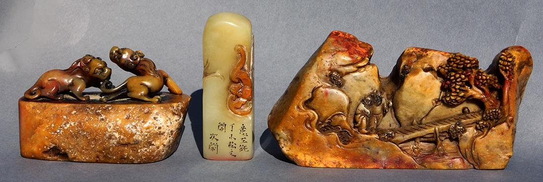 Three Chinese Soapstone Carvings