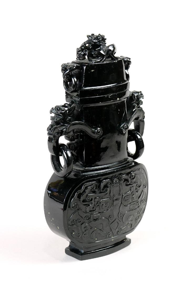 Chinese Jade Lidded Urn, Dragons